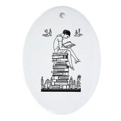 CafePress Reading Girl Atop Books Ornament (Oval) Oval Holiday (749299180)