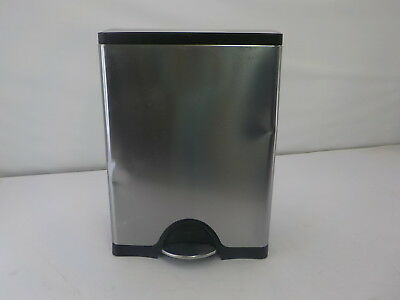 simplehuman 46 Liter/12.2 Gallon Stainless Steel Dual Compartment Step Trash Can
