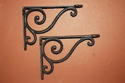 "(2) Vintage-look Decorative Cast Iron Shelf Brackets Rustic Brown, 6 5/8""  B-5"