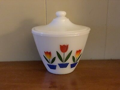 "Anchor Hocking Fire King Tulip Grease Jar & Lid 4 1/8"" Tall"