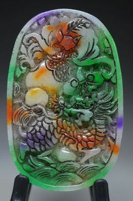 Chinese old jade hand carved *dragon* pendant Y97