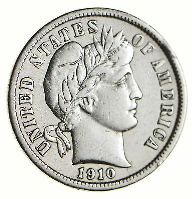 Higher Grade - 1910 Barber Liberty US Silver Dime - Great Detail in LIBERTY *151