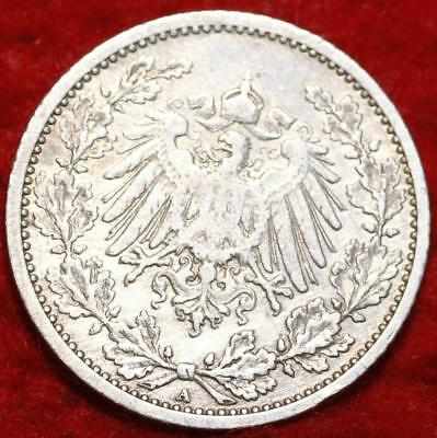 1909-A Germany 1/2 Mark Silver Foreign Coin