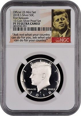 2018 S SILVER Kennedy 50c FR 10-Coin SILVER SET NGC PF70 Ultra Cameo (PORTRAIT)