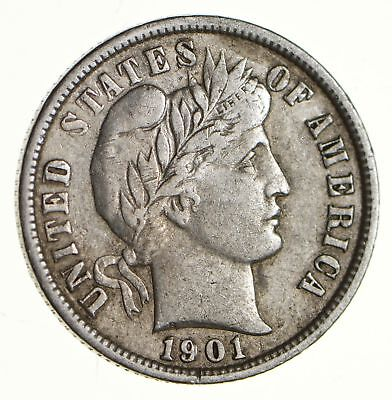 Higher Grade - 1901 Barber Liberty US Silver Dime - Great Detail in LIBERTY *144