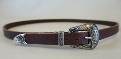 Vintage Sterling Silver Three Piece Buckle Set on New Latigo Leather Hat Band