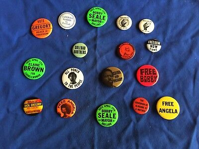 Civil Rights, Black Power Pin Back Buttons (17)