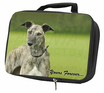 Greyhound Dog 'Yours Forever' Black Insulated School Lunch Box Bag, AD-LU7yLBB