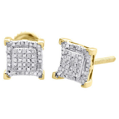 Diamond Double Halo Earrings Sterling Silver Yellow Finish 7.75mm Studs 0.15 CT.