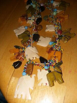 Vintage Hand Carved Bovine Bone ~ Elephant and other Animals   Necklace