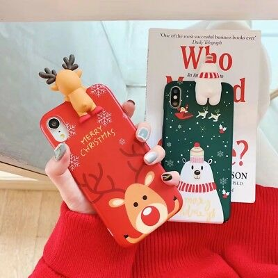Christmas Tree Red Reindeer Cute Phone Case Covers For iPhone Xs Xr Max 8 7 Plus