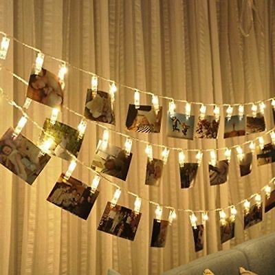 LED Photo Peg Clip Fairy Light String Hanging Picture Wedding Party Home Decor