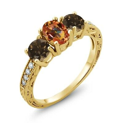 1.84 Ct Mystic Topaz Smoky Quartz 18K Yellow Gold Plated Silver Ring