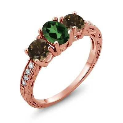 1.84 Ct Mystic Topaz Smoky Quartz 18K Rose Gold Plated Silver Ring