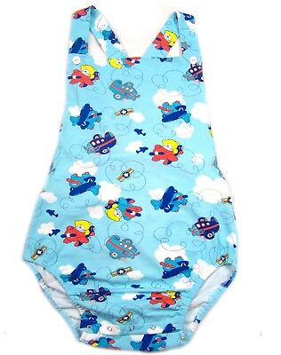 Adult Airplanes & Teddy's baby blue color sunsuit/romper