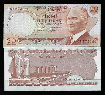 Turkey, 20 Lira, L. 1970 (1974), P-187 (187a), UNC
