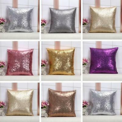 1PC 40cm Glitter Sequins Throw Pillow Case Home Car Decor Waist Cushion Cover LC