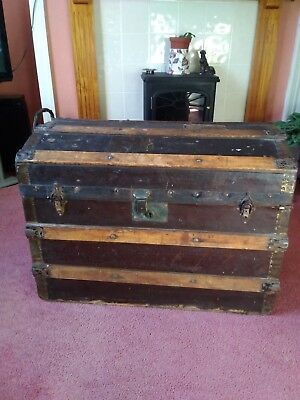 Antique Victorian Vintage Dome Top Steamer Trunk
