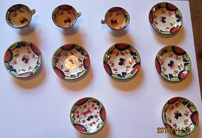 Rare Miniature Welsh Gaudy. 3 Cups, 6 Saucers. 1 Smaller ''dish'. Circa 1860