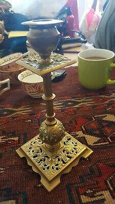 Early  Rare Antique Brass Candlestick highly decorated  very unusual collectable