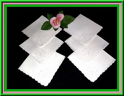 Gorgeous Set Of 6 Antique Madeira Embroidered Linen Tea Napkins Great Condition