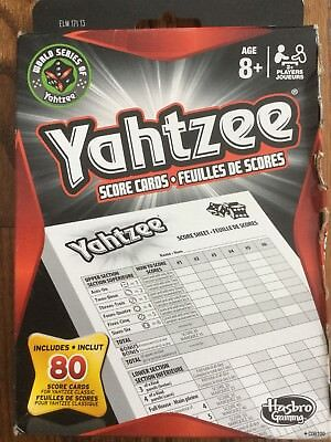 Hasbro Yahtzee SCORE CARDS Tally Sheet Record GAME PAD SCORES 80 Page Gaming NEW