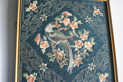 Antique Chinese Silk Embroidery Flower Bird/Peacock Picture - Framed Glazed