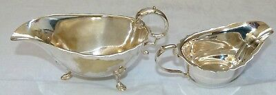 Two Vintage Silver Plated Sauce Boats The larger with Plate Erosion Smaller Good