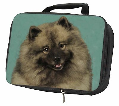 Keeshond Dog Black Insulated School Lunch Box Bag, AD-KEE1LBB