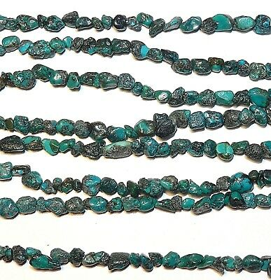 """NG1784 Teal Blue Turquoise Mini 4mm Nugget Chip Stabilized Gemstone Beads 33"""""""