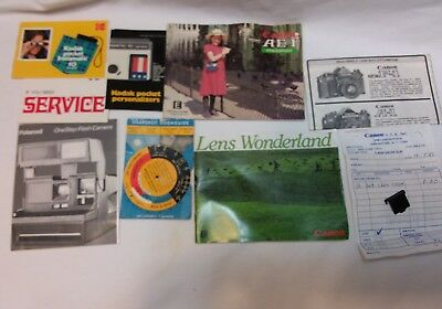 Lot Camera Manuals for Canon, Kodak and Polaroid Cameras Plus other items