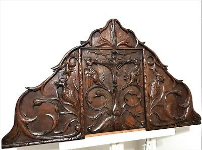 GOTHIC BIRD SCROLL LEAVES PANEL Antique french hand carved wood salvaged plaque