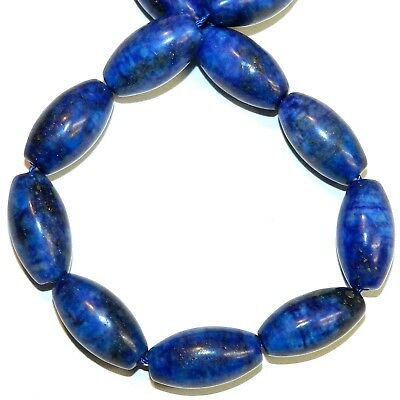 NG2948 Blue Lapis Lazuli 20mm Tapered Oval Barrel Gemstone Beads 15""