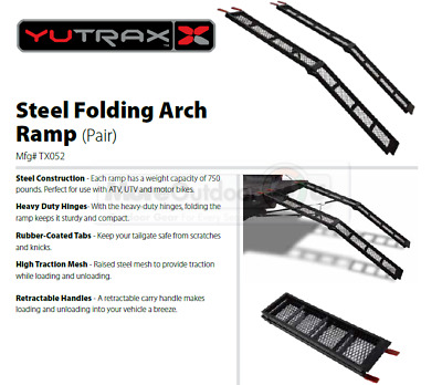 TX052 NEW YUTRAX Steel 79-Inch Folding Cycle Arch Ramps Pair 1500 lb Capacity