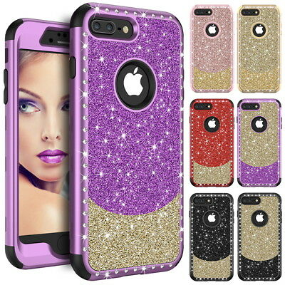 Bling Glitter Crystal Hybrid Heavy Duty Shockproof Case Cover For Apple iPhone