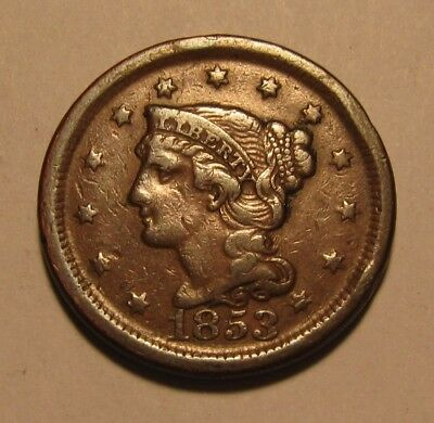 1853 Braided Hair Large Cent Penny - Extra Fine Condition / Rev Stain -10SA