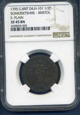 1795 Great Britain D&H 101  1/2 penny NGC XF45BN Plain EDGE- inv#SL1336