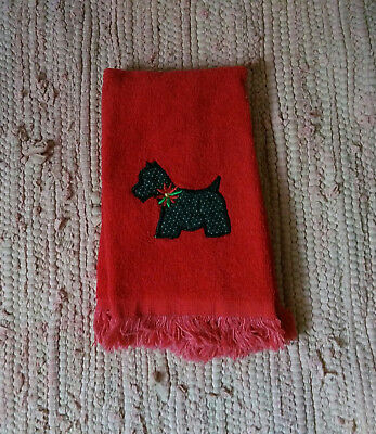 Scottie Scotty Dog Red Towel with Fringe