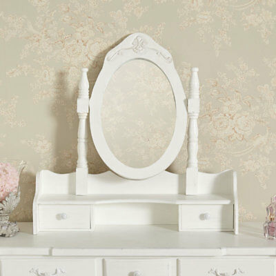 White Freestanding Table Top Vanity Mirror Vintage French Shabby Chic Bedroom