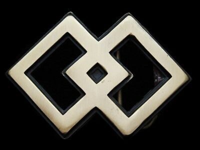 KF01172 VINTAGE 1980s ***TWO INTERSECTING DIAMONDS*** SOLID BRASS FASHION BUCKLE