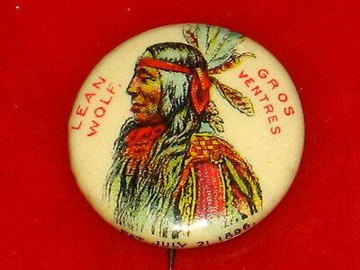 Vintage 1890'S Chief Lean Wolf, Gros Ventres Indian Pin, Pinback Button, Badge