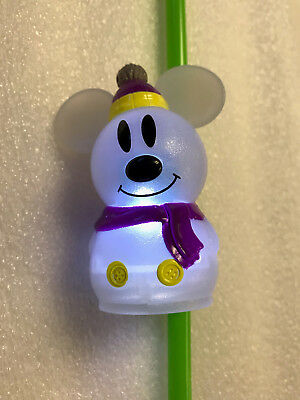New Disney Disneyland 2018 Mickey Mouse Snowman LU Bottle Topper with Straw