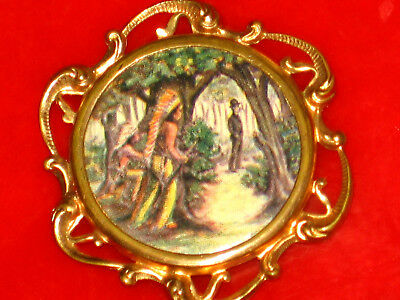 Vintage 1900'S Indians Watching Some White Dude Pin, Pinback Button, Badge