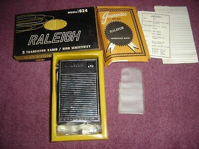 Vtg Raleigh Transistor Radio Box Lot Set 824 Papers Ear Phone Untested Taiwan