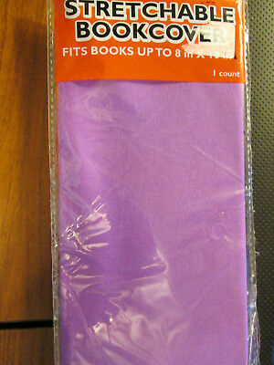 "PURPLE Stretchable Fabric Bookcover Fits Books up to 8"" x 10"" Purple"