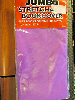 Jumbo Stretchable Fabric Bookcover Fits Book or Binders up to 10.5 x 11.5 PURPLE