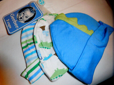 New w/Tag GERBER 3 Boy Caps 0-6months for 8-16lbs Dinosaurs, Stripe, & Cute Dino