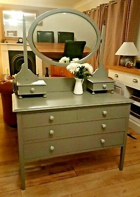 Beautiful Vintage Antique Mirrored Painted Chest Of Drawers Dressing Table grey