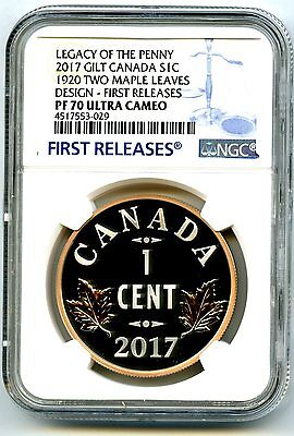 2017 1920 Canada 1Oz Silver Ngc Pf70 Two Maple Leaves Legacy Of The Penny Cent