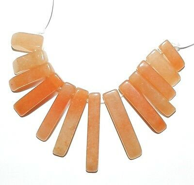 P1628 Red Aventurine 10mm - 30mm Gemstone 13-pc Graduated Mini-Fan Pendant Beads